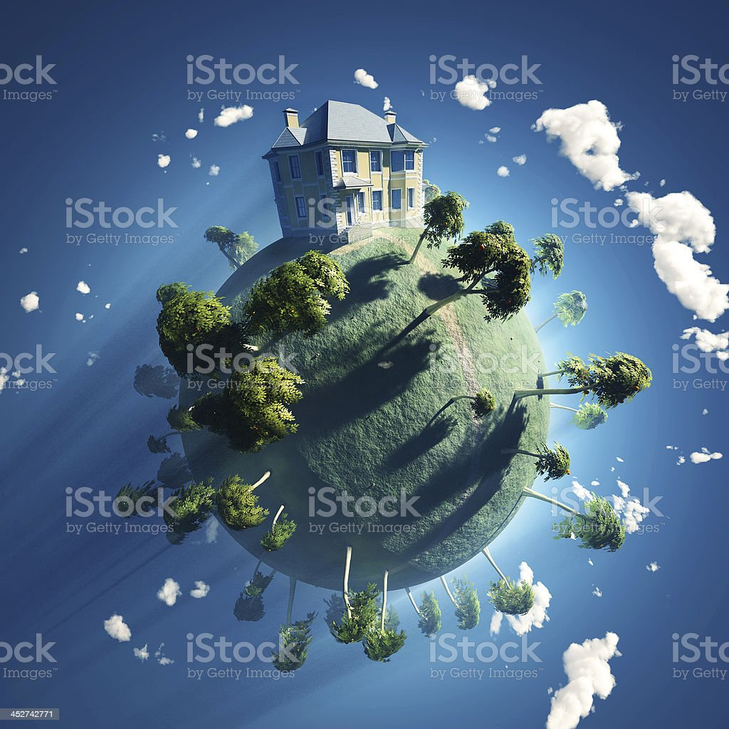 private house on small planet stock photo