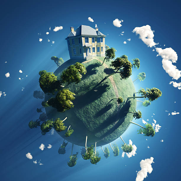 private house on small planet - new world stockfoto's en -beelden