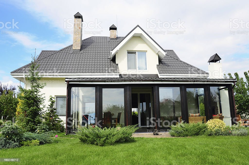 private house with garden in a rural area royalty-free stock photo