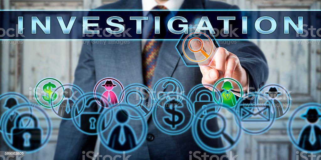 Private Investigator Pressing INVESTIGATION stock photo
