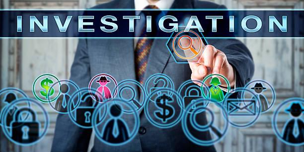 Private Investigator Pressing INVESTIGATION stock photo