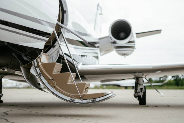 Private Jet. Airport. Private Plane. Runaway. Private plane ready for boarding stock photo