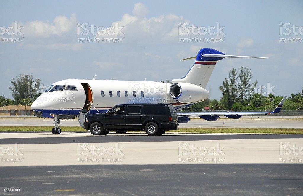 Private jet awaiting VIP stock photo