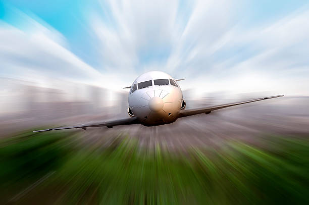 Private Jet Flying Private jet fly with motion blur effect background supersonic airplane stock pictures, royalty-free photos & images