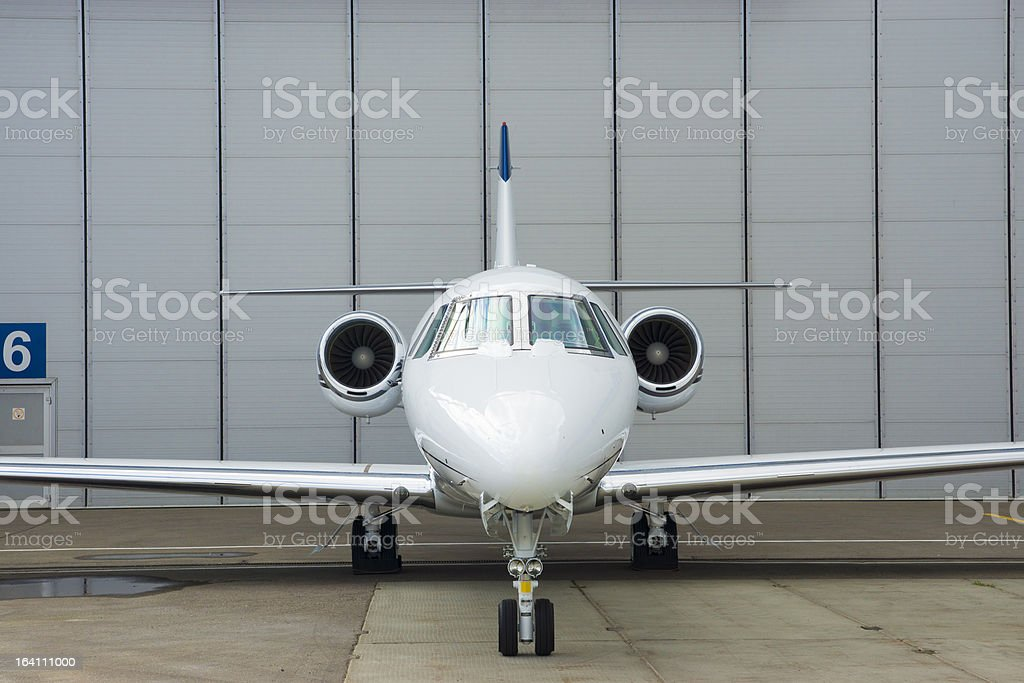 Private Jet in hangar royalty-free stock photo