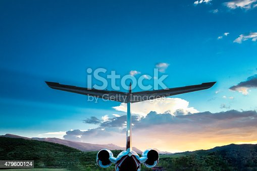 istock Private Jet in the Mountains at Dusk 479600124
