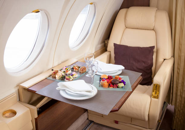 Private jet interior Gourmet catering presentation on board first class stock pictures, royalty-free photos & images