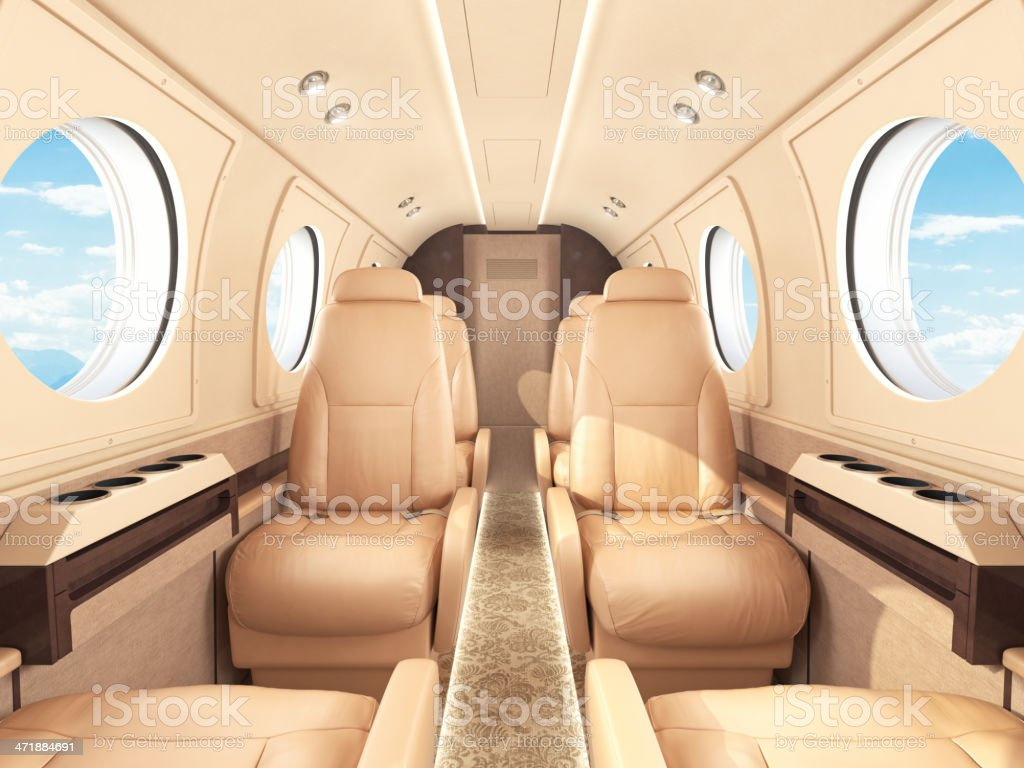 Private Jet Interior stock photo