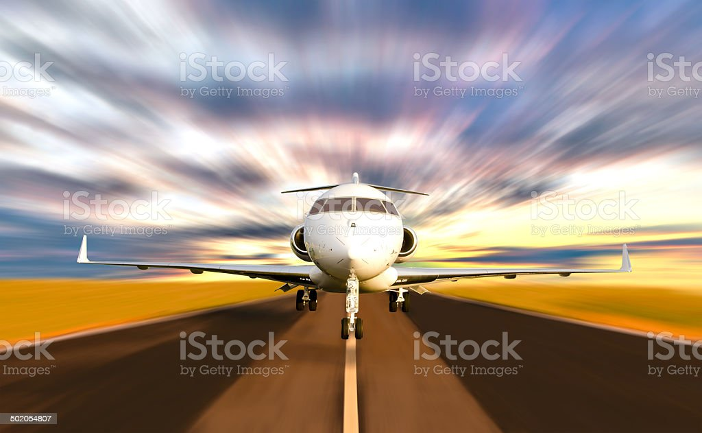 Private Jet Plane Taking off with Motion Blur stock photo