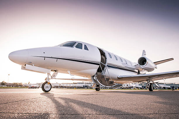 Private jet ready for boarding stock photo