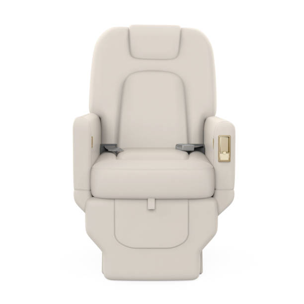 Private Jet Seat Isolated Private Jet Seat isolated on white background. 3D render airplane seat stock pictures, royalty-free photos & images