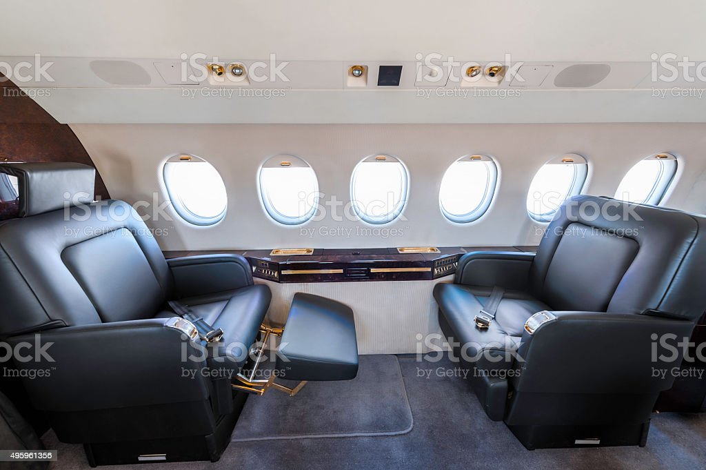 Private jet seat stock photo