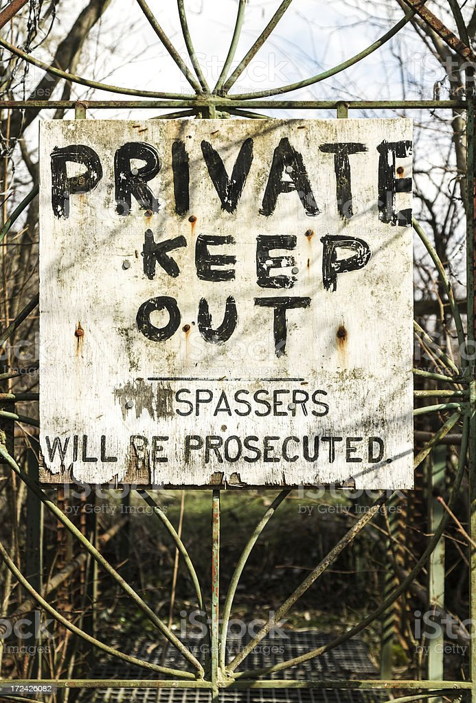 Private keep out sign stock photo