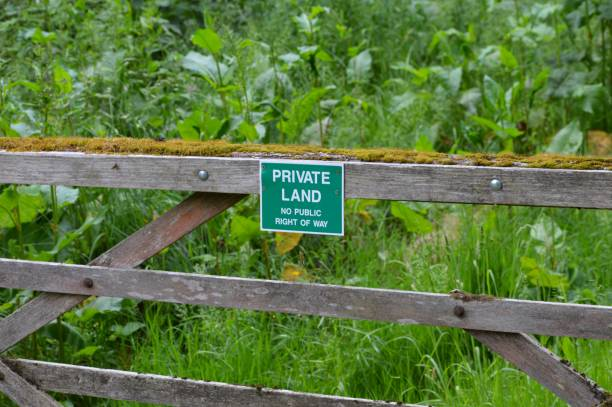 Private land sign. stock photo