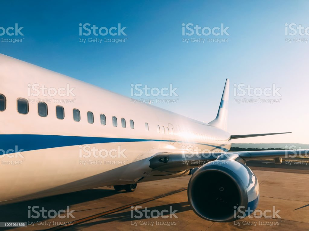 Private luxury jet at the airport terminal stock photo