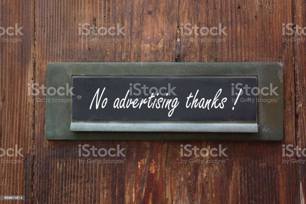 Private mailbox  Stop Advertisements ! stock photo