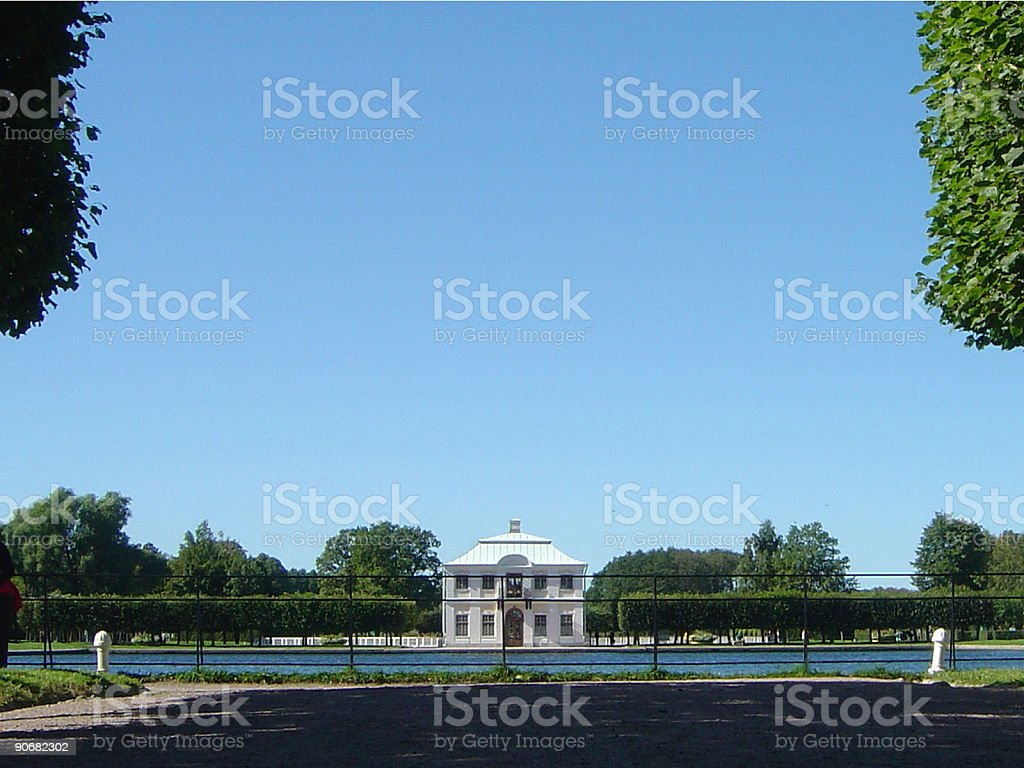 Private Mansion with space for text stock photo