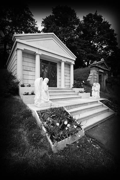 Private mausoleum in Cemetary stock photo