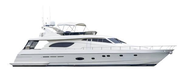 un yate de motor privado, aislado sobre un fondo blanco - yacht fotografías e imágenes de stock