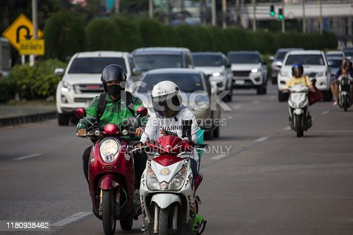Chiangmai, Thailand -  October 10 2019: Private Motorcycle, Suzuki On highway road. Road to chiangmai city.