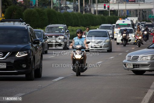 Chiangmai, Thailand -  October 10 2019: Private Motorcycle, Yamaha On highway road. Road to chiangmai city.