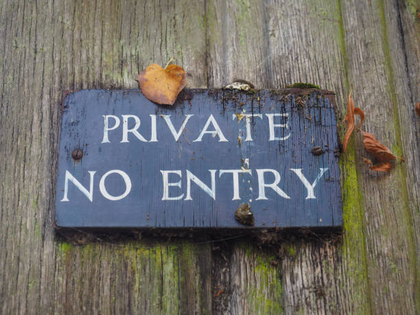 private no entry warning sign stock photo