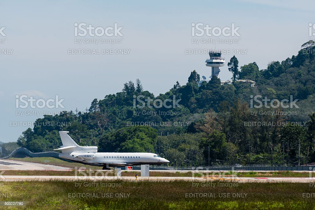 Private plane parking at phuket airport stock photo