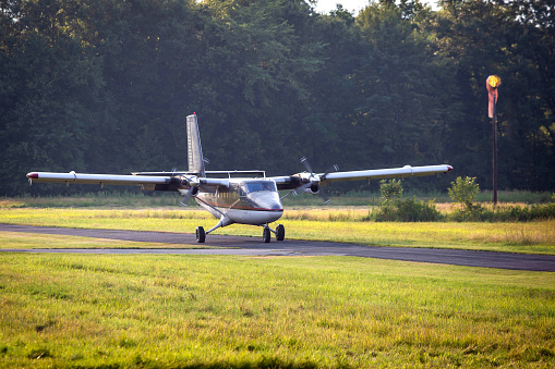 istock Private plane takes off in the country 1041502600