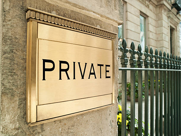 Private plaque on an important building stock photo