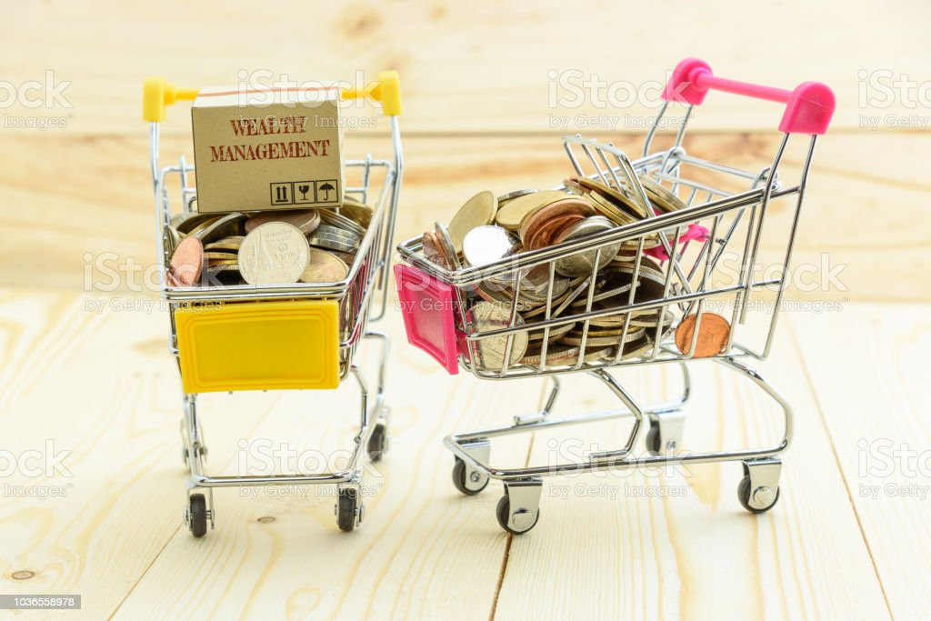 Private portfolio and wealth management with risk diversification concept : Paper box / carton of financial instruments on a small yellow and pink shopping cart with silver - bronze - nickel coins. stock photo