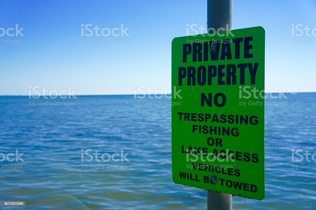 Private Property No Trespassing or Fishing Sign stock photo
