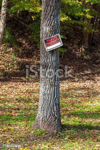 Vertical shot of a Private Property No Trespassing Sign nailed to a tree.