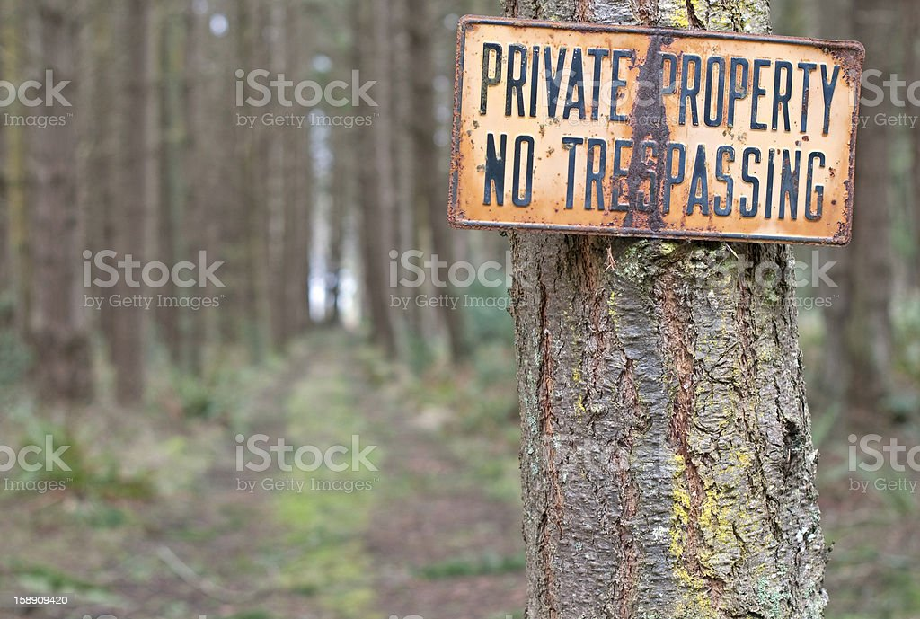 Private Property sign and dirt road royalty-free stock photo