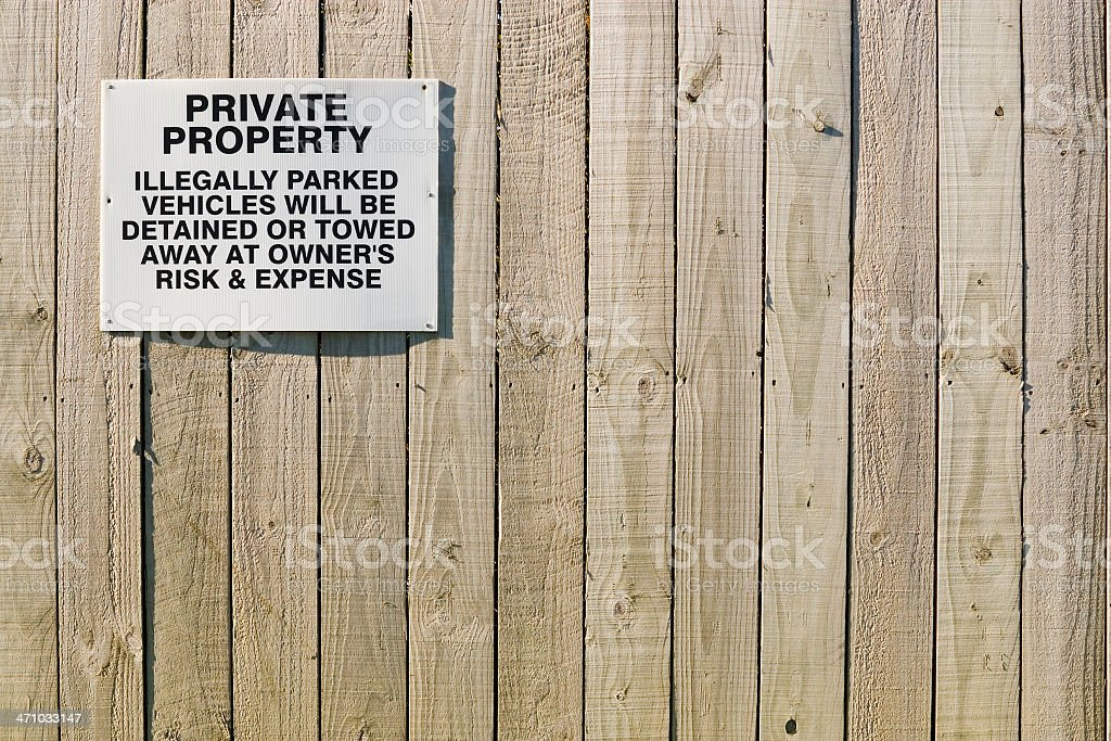 'Private Property' sign on fence stock photo
