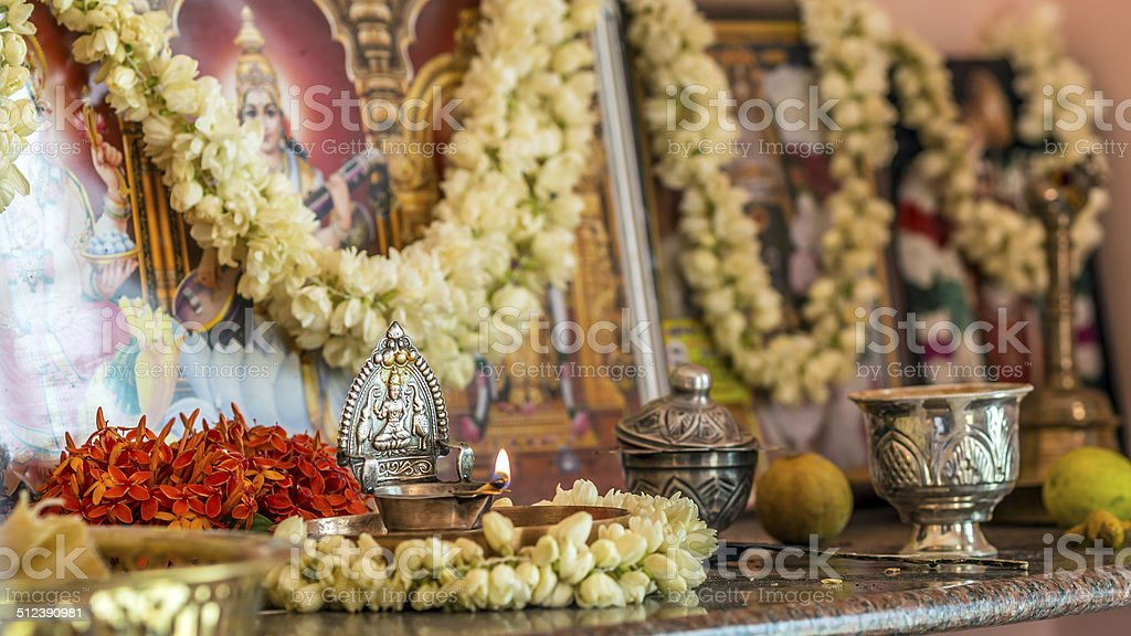 Private South Indian prayer room alter stock photo