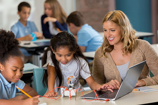 Private Stem School Students Work On Class Assignment Stock Photo - Download Image Now