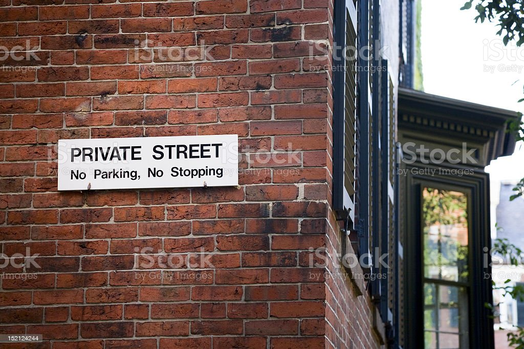 Private Street Sign - No Parking royalty-free stock photo