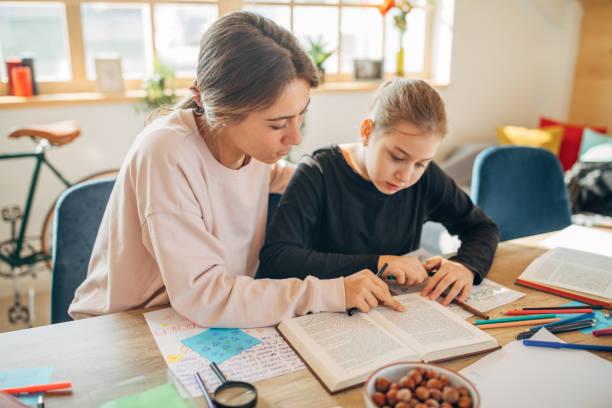 Privatlehrerin hilft Mädchen bei Hausaufgaben – Foto