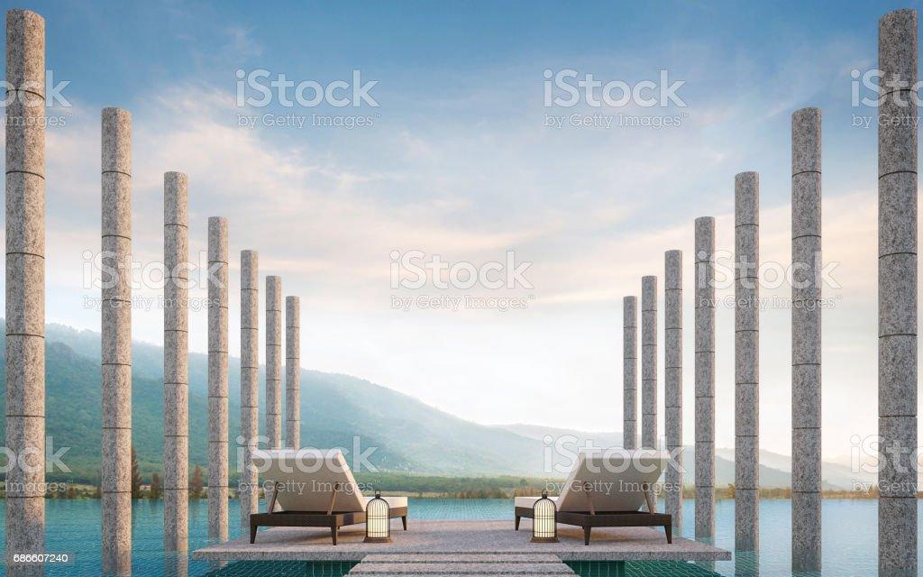 Terraza privada en la piscina con renderizado 3d de vistas a la montaña - foto de stock
