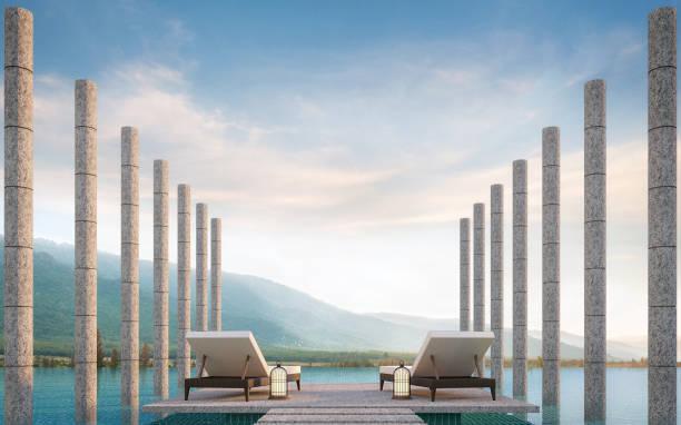 terrasse am pool mit blick auf die berge 3d-bild rendern - naturstein terrasse stock-fotos und bilder