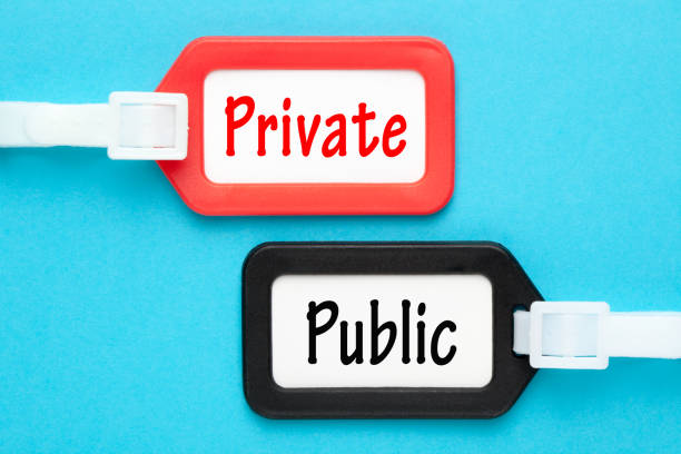 Private Versus Public Private vs Public written on luggage tags on blue background. Business concept. military private stock pictures, royalty-free photos & images