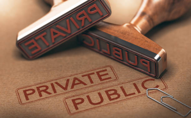 Private Versus Public Sectors 3D illustration of two rubber stamps over paper background. Private versus public sectors concept. military private stock pictures, royalty-free photos & images