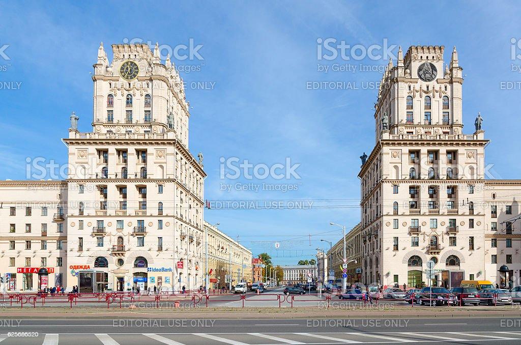 Privokzalnaya square (Gates of Minsk), Minsk, Belarus stock photo