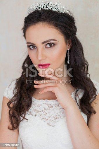 674214372istockphoto prncessa with the Crown bride wedding dress 678594832