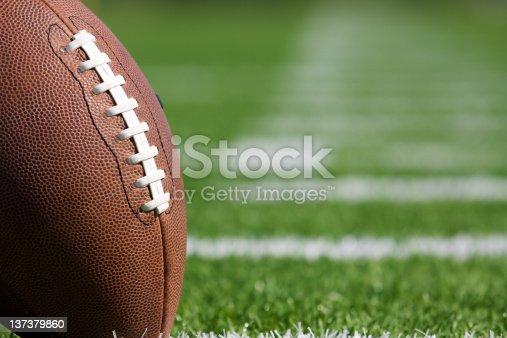 Pro American Football on the Field Close Up with room for copy, shot at shallow depth of field