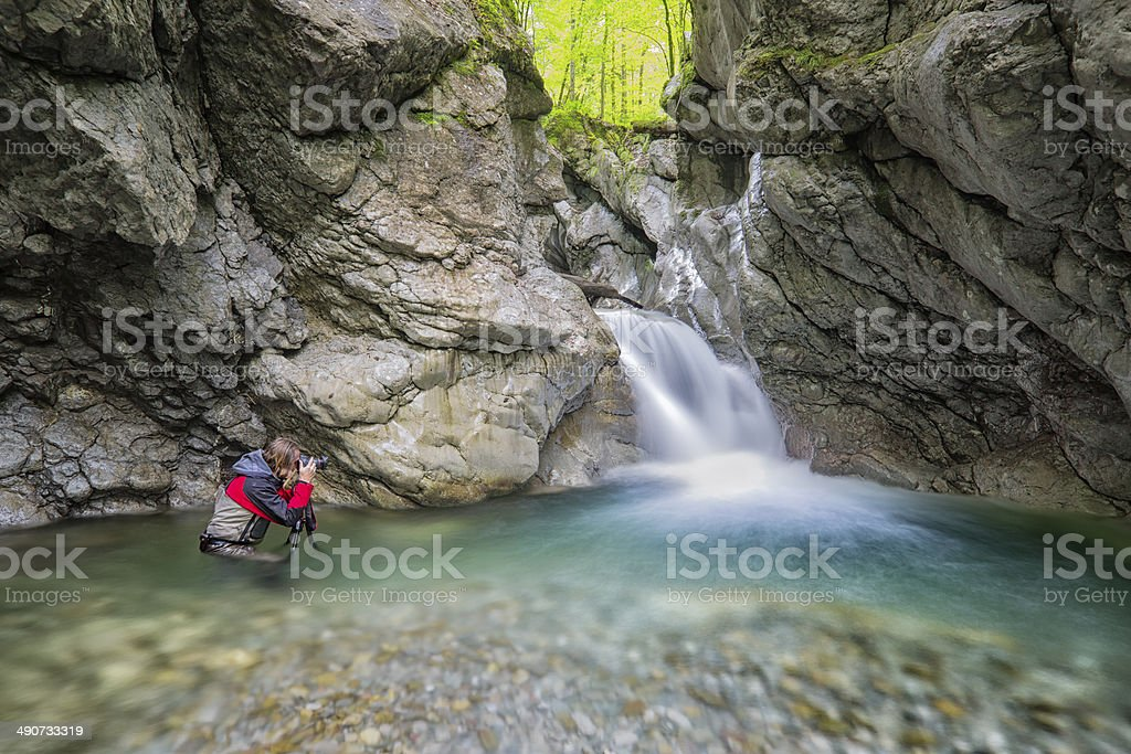Pro Landscape Photographer in the canyon stock photo