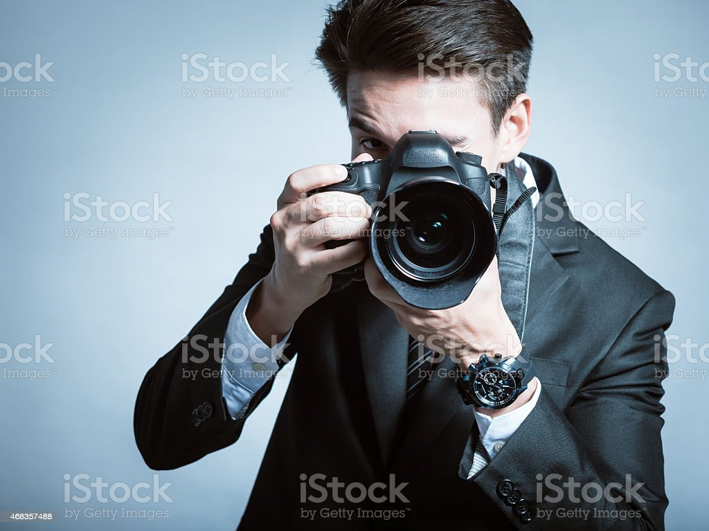 Pro photographer stock photo