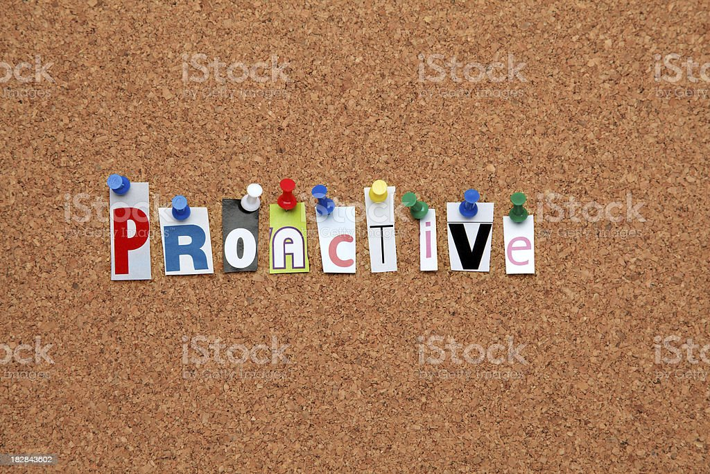 Proactive pinned on noticeboard royalty-free stock photo