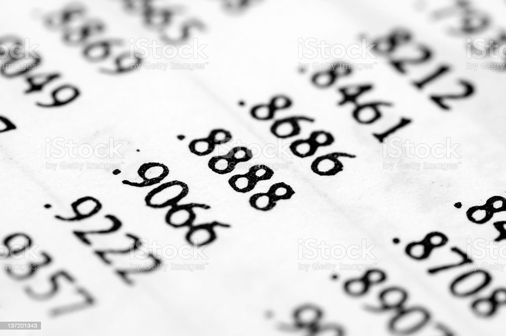 Probability indices, random numbers stock photo