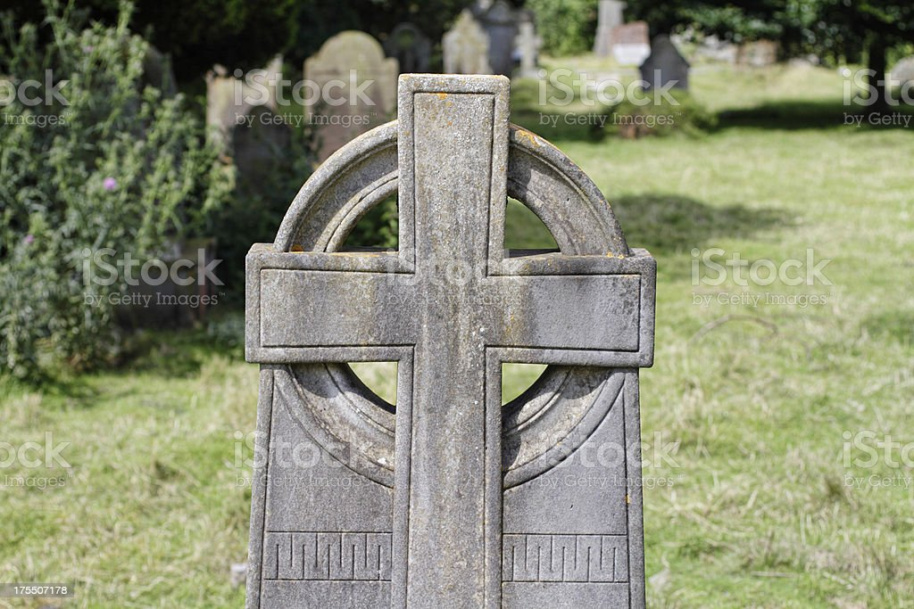 Celtic cross in stone Victorian revival royalty-free stock photo